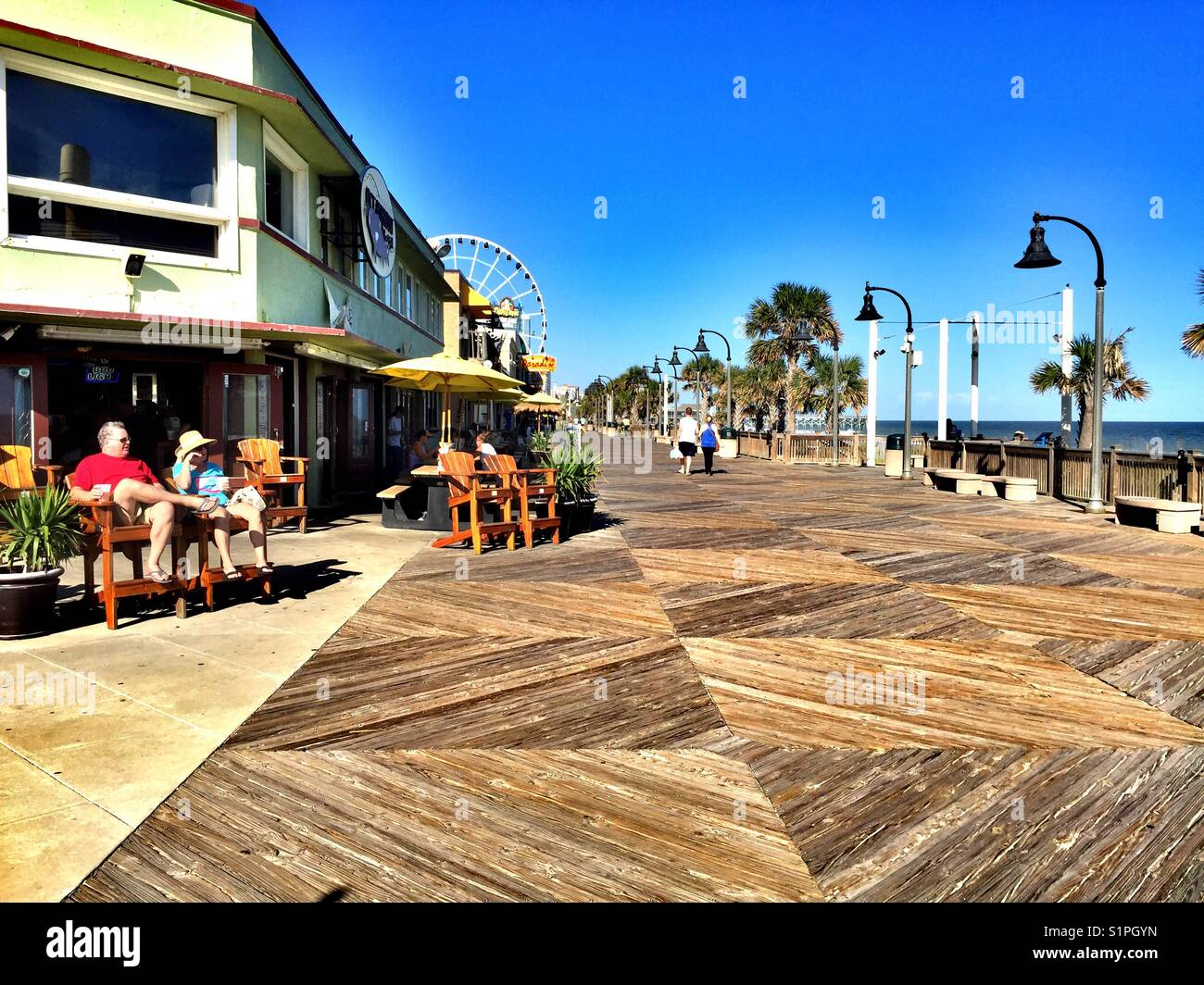 Oceanfront boardwalk and shops, Myrtle Beach, South Carolina Stock Photo