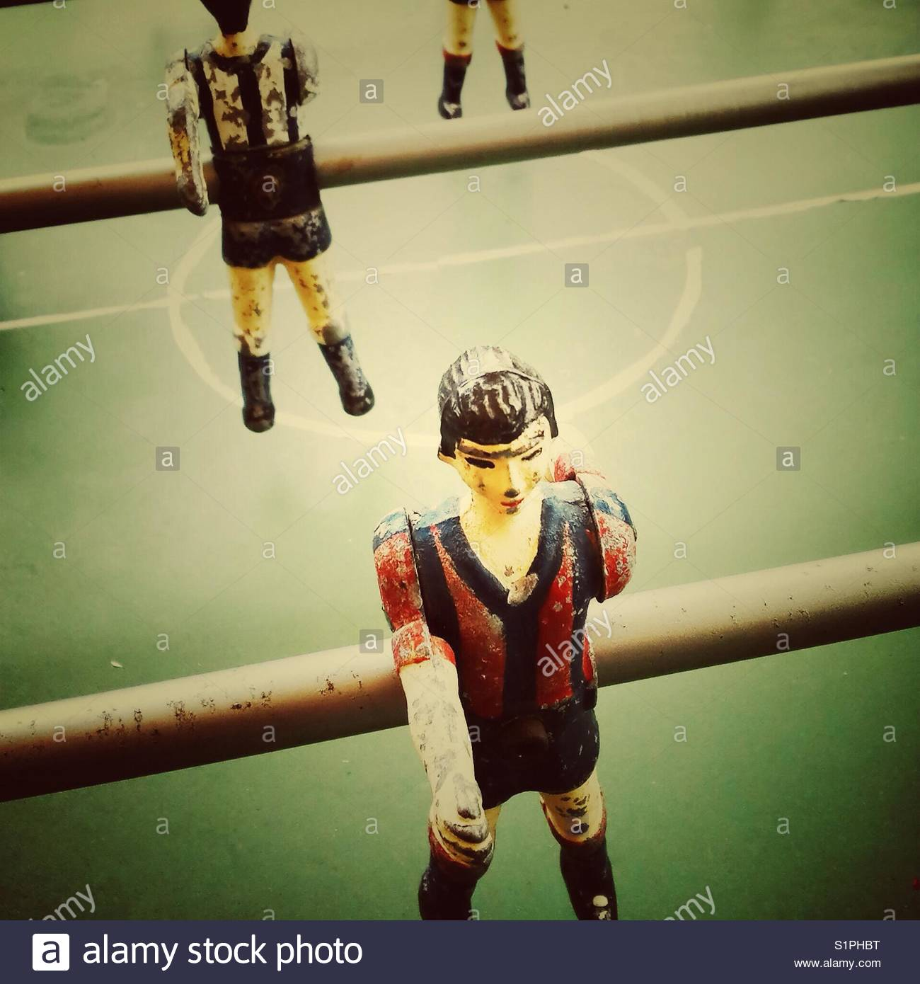 Vintage table football close up fussball - Stock Image