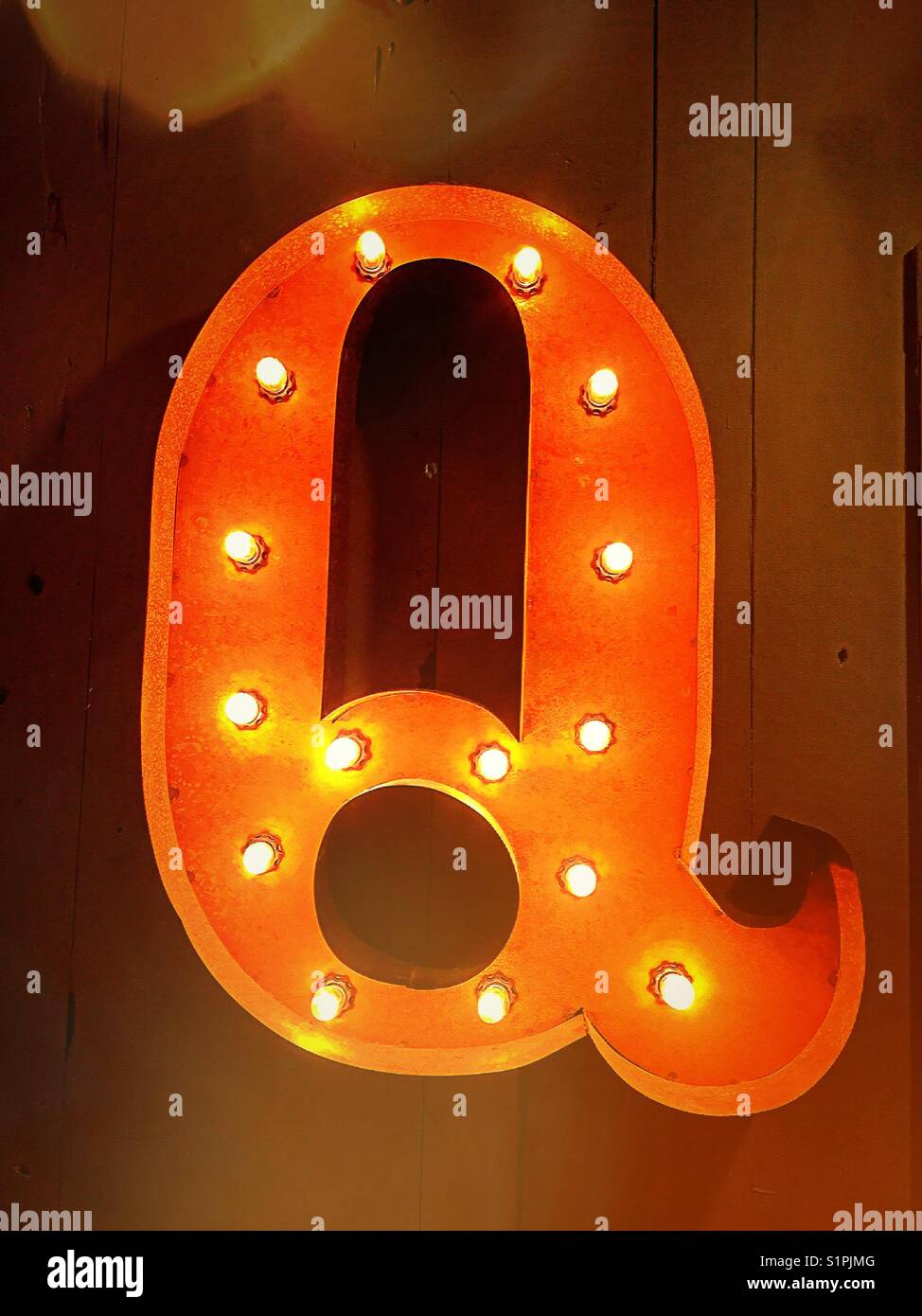 Letter Q lighted  wall display, United States - Stock Image