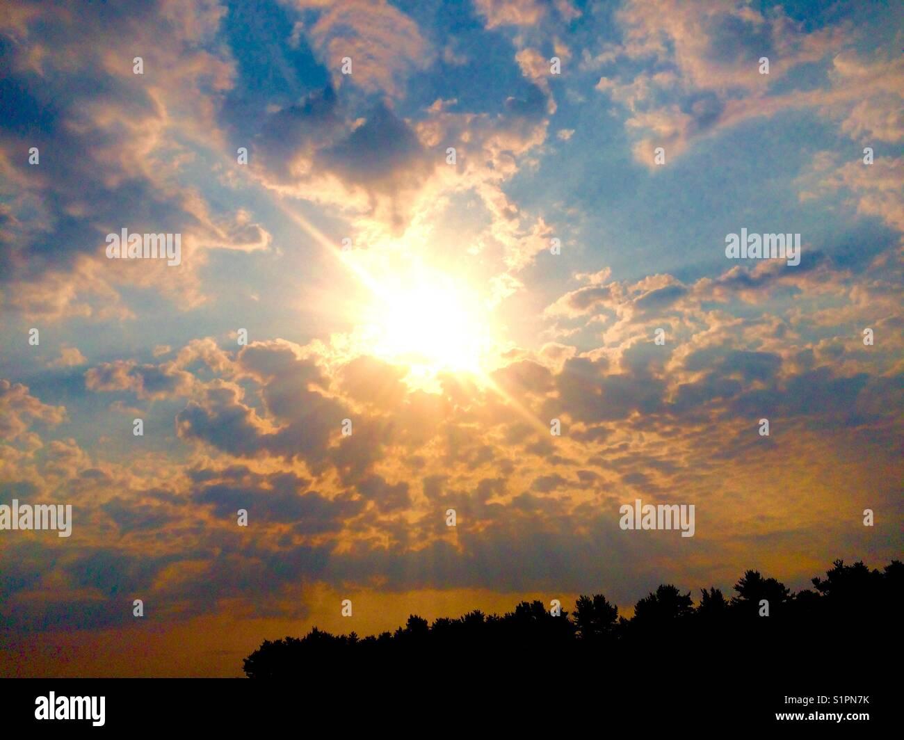 Sun Rise in Maine - Stock Image