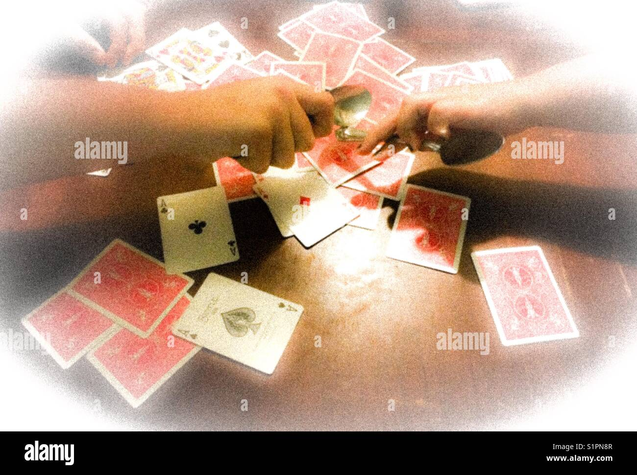 Kids Playing Spoons Card Game Stock Photo 310900935 Alamy