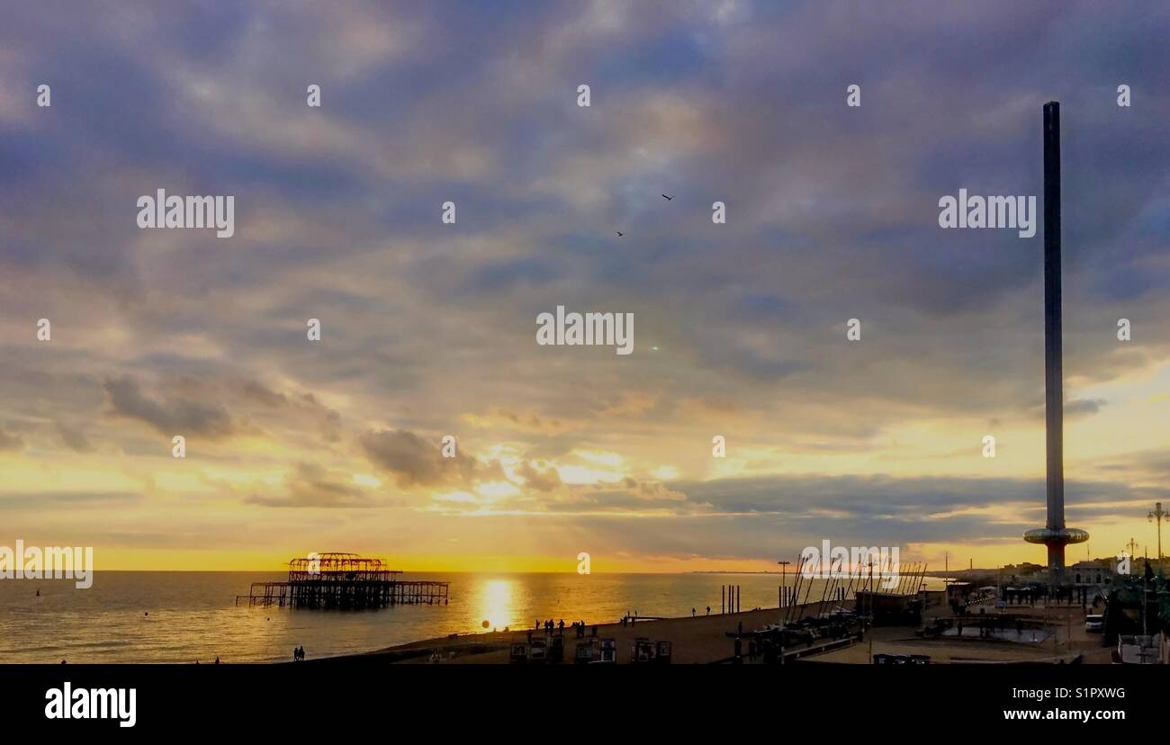 Sunset on Brighton beach Stock Photo