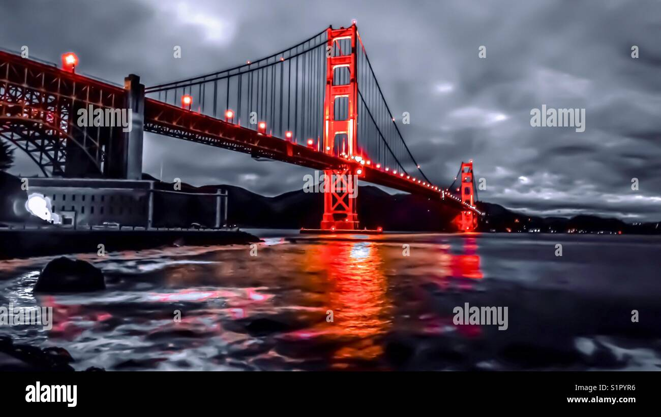 Red Black And White Golden Gate Great For Desktop Wallpaper Stock