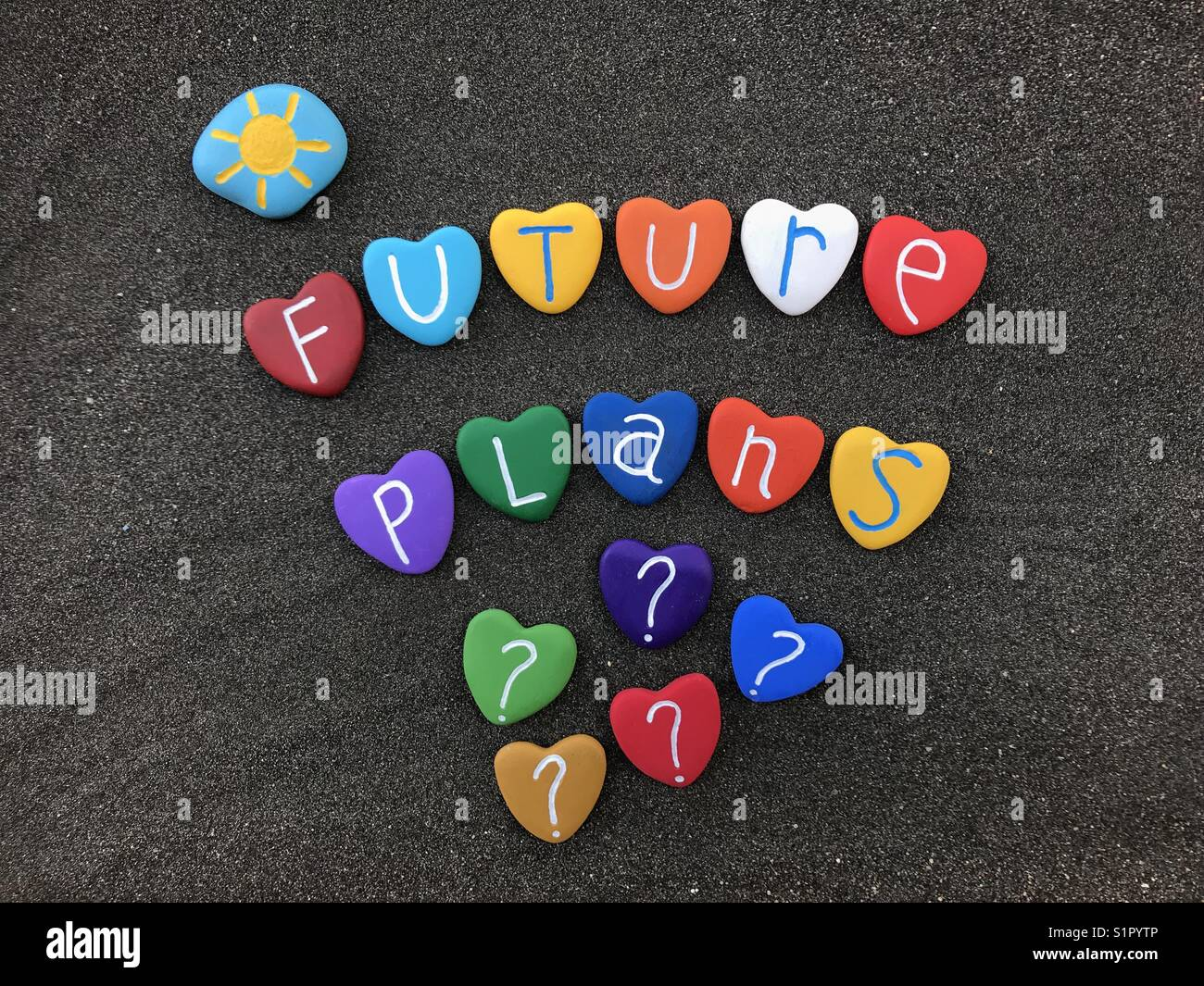 Future plans and question marks - Stock Image