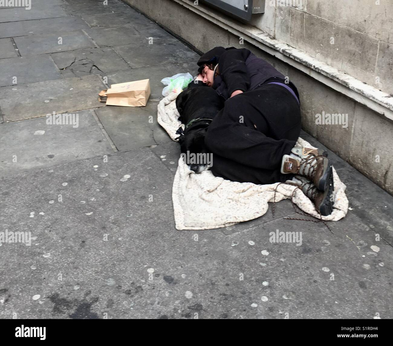 Homeless gentleman sleeping during the afternoon with his trusted companion in London England September 2017 - Stock Image