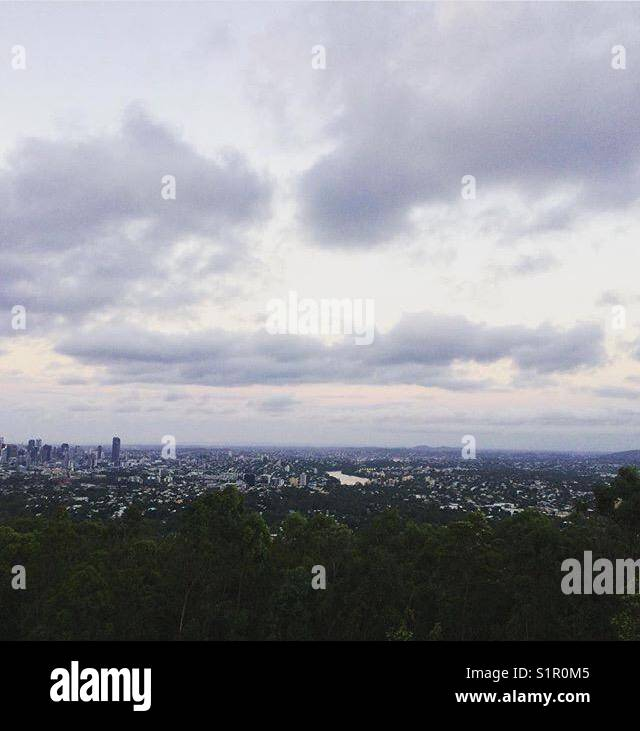 Overcast day in Brisbane City - Stock Image