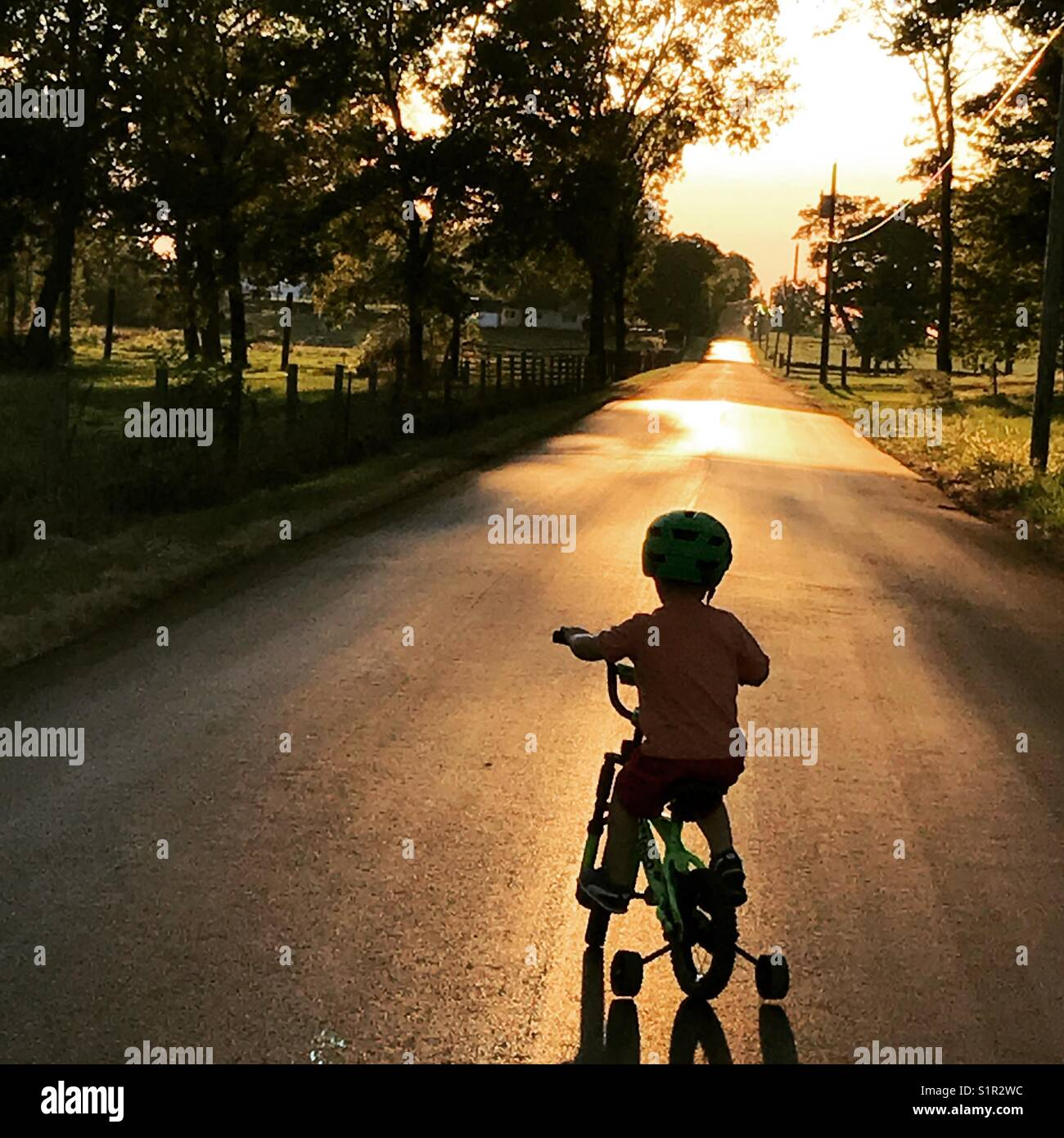 Evening bike ride - Stock Image