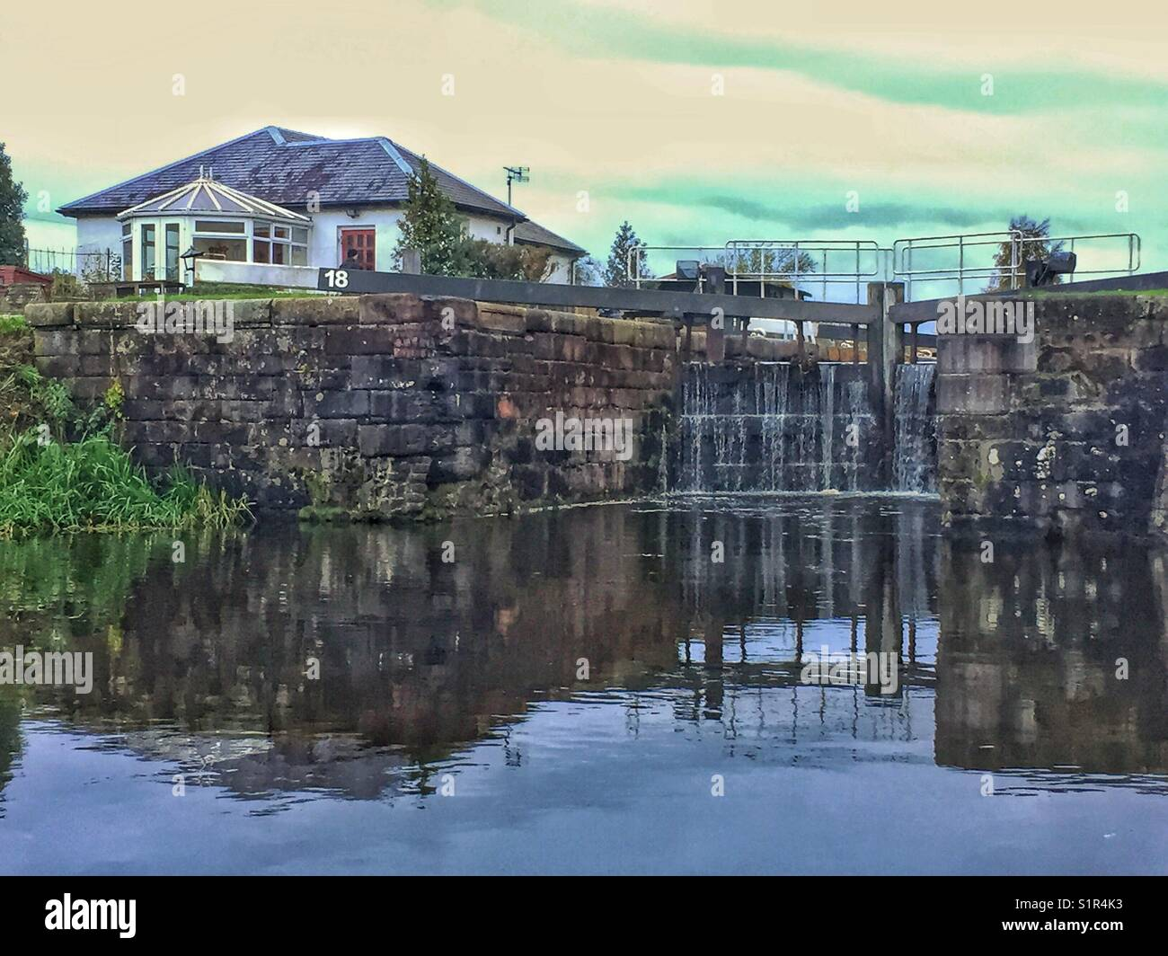 Lock 18, Forth and Clyde Canal, Scotland. Opened in 1790, this view is virtually unchanged for the last 230 years. - Stock Image