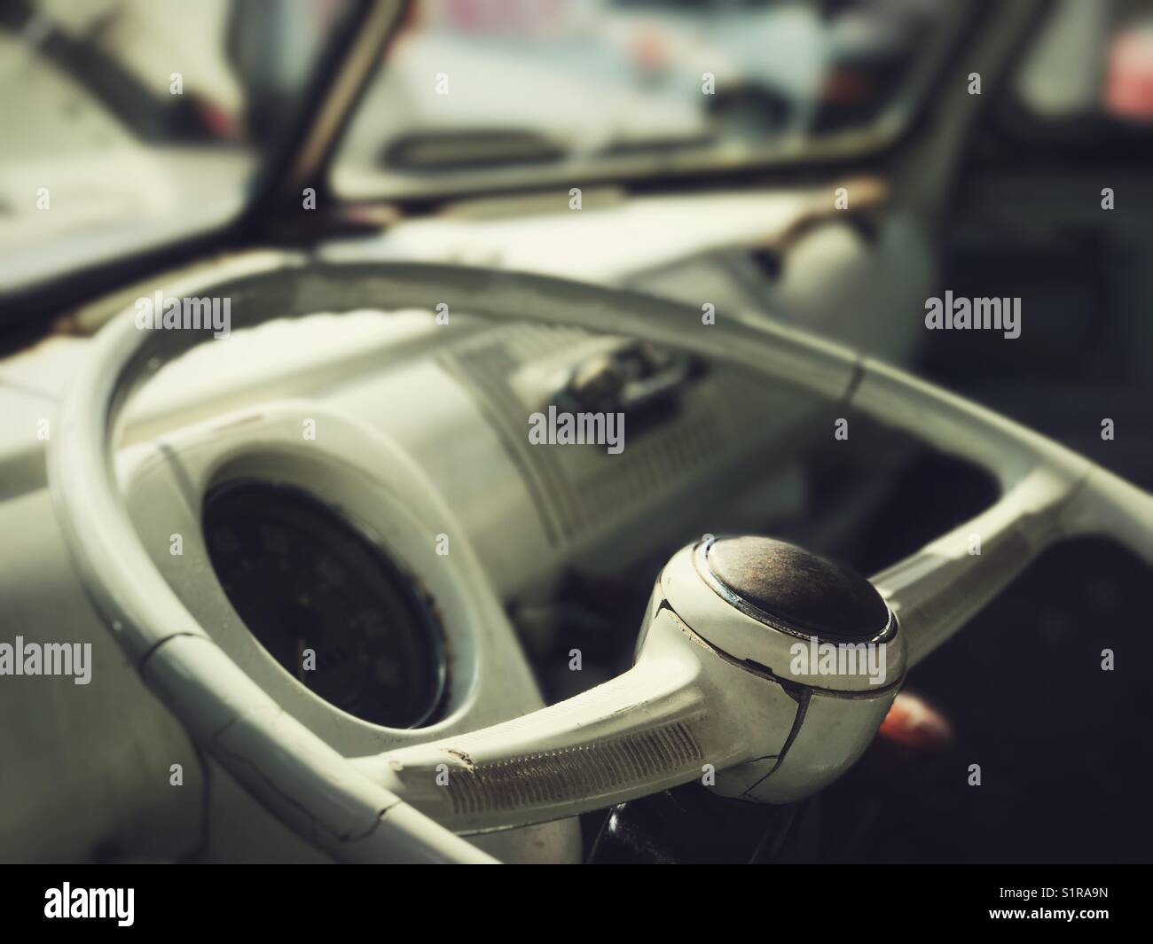 Steering wheel and dashboard of vintage VW Bus - Stock Image