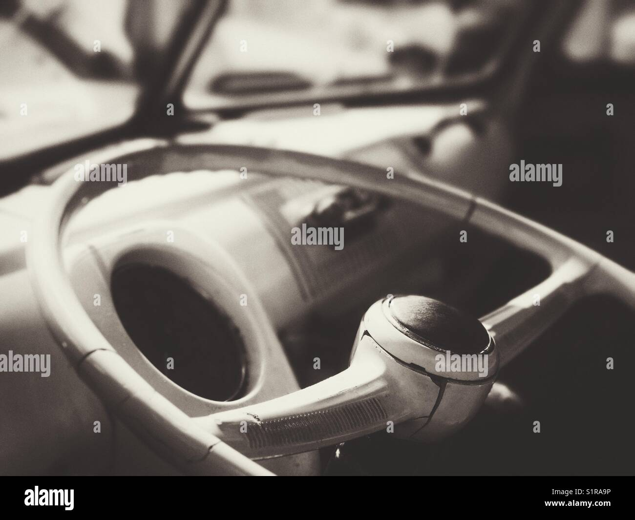 Vintage VW Bus steering wheel and dashboard Stock Photo: 310914290