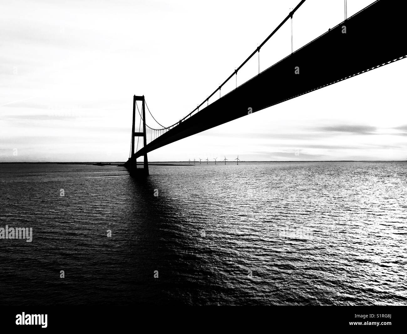 View from cruise ship of the Oresund Bridge linking Denmark and Sweden Stock Photo