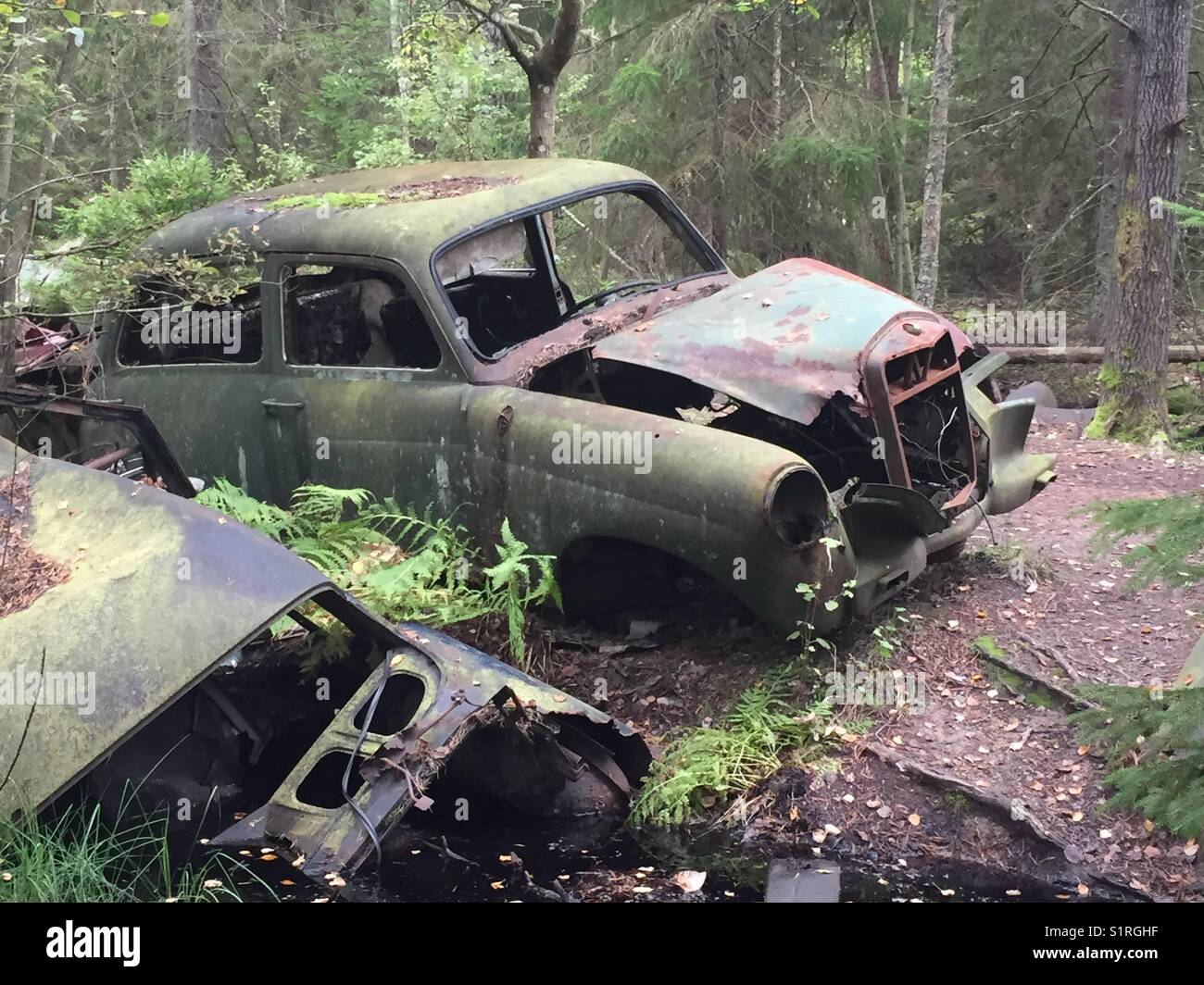 Scrap car park. - Stock Image