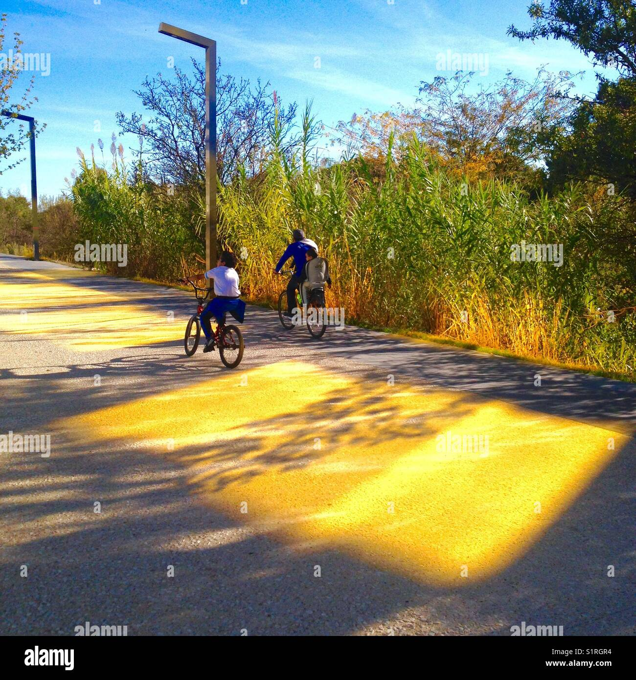 Cyclists passing in reflections of the Buidlding Koh-I-Noor, Port Marianne, Montpellier France - Stock Image