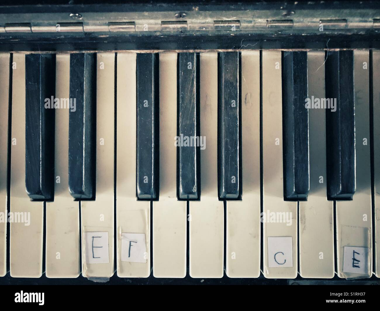 Old piano keys with partial note labelling - Stock Image
