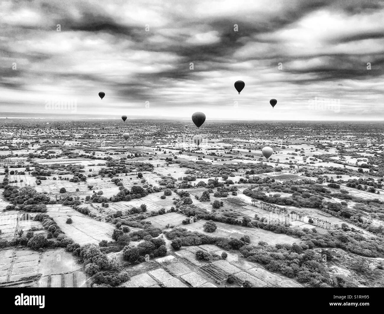 Hot air balloons over Bagan, Myanmar - Stock Image