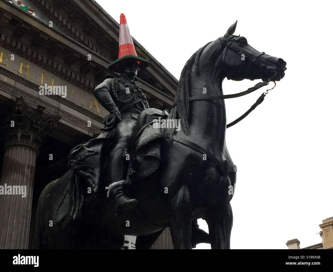 Equestrian statue of Duke of Wellington, Glasgow - Stock Image