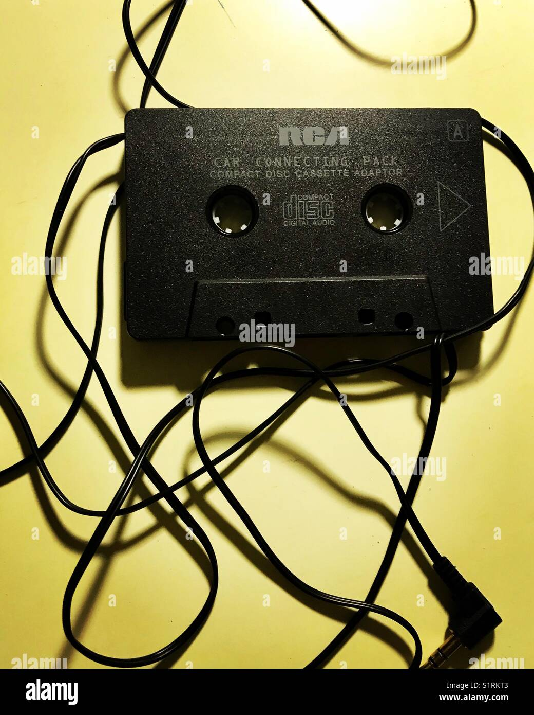RCA cassette tape car connector and wires - Stock Image