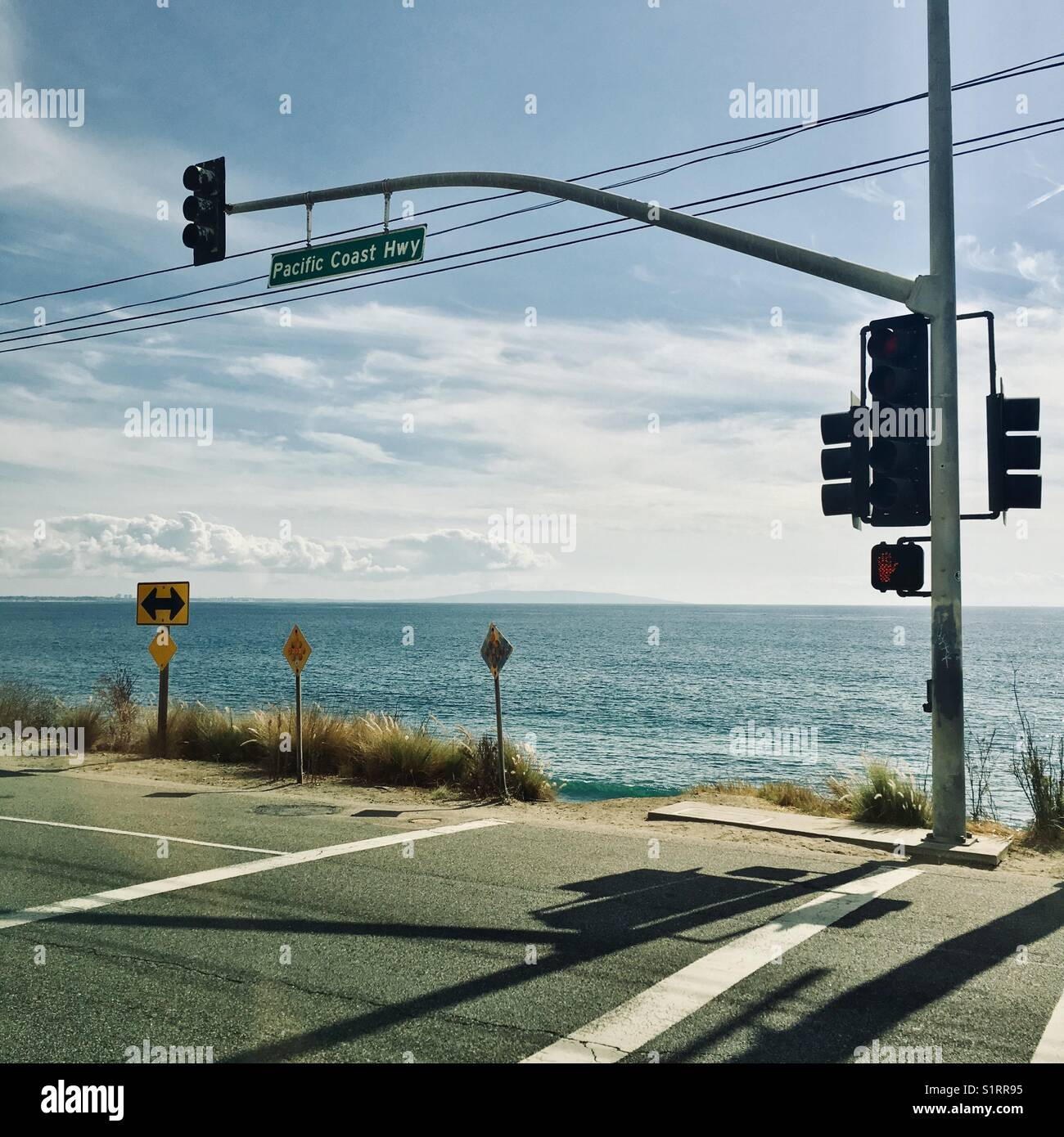 Pacific Coast Highway 1 in Malibu Los Angeles California USA - Stock Image