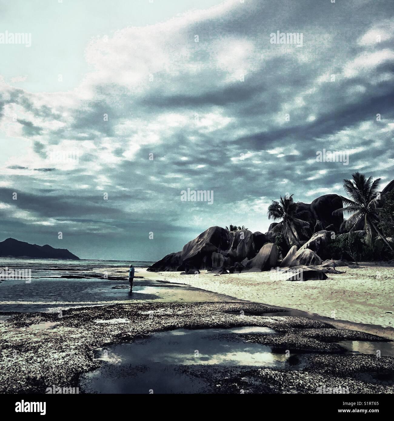 Seychelles La Digue Island Anse Source D'Argent Beach Stock Photo