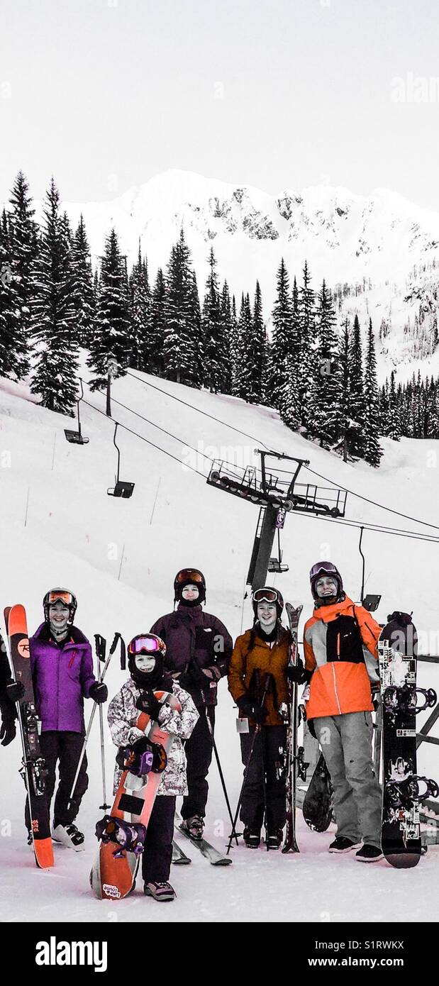 Downhill skiing group - Stock Image