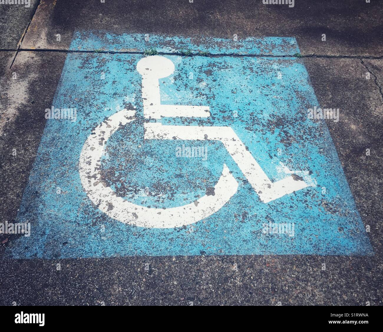 Disable wheelchair symbol stencil in white on blue square in car park. Closeup communication sign on disability - Stock Image