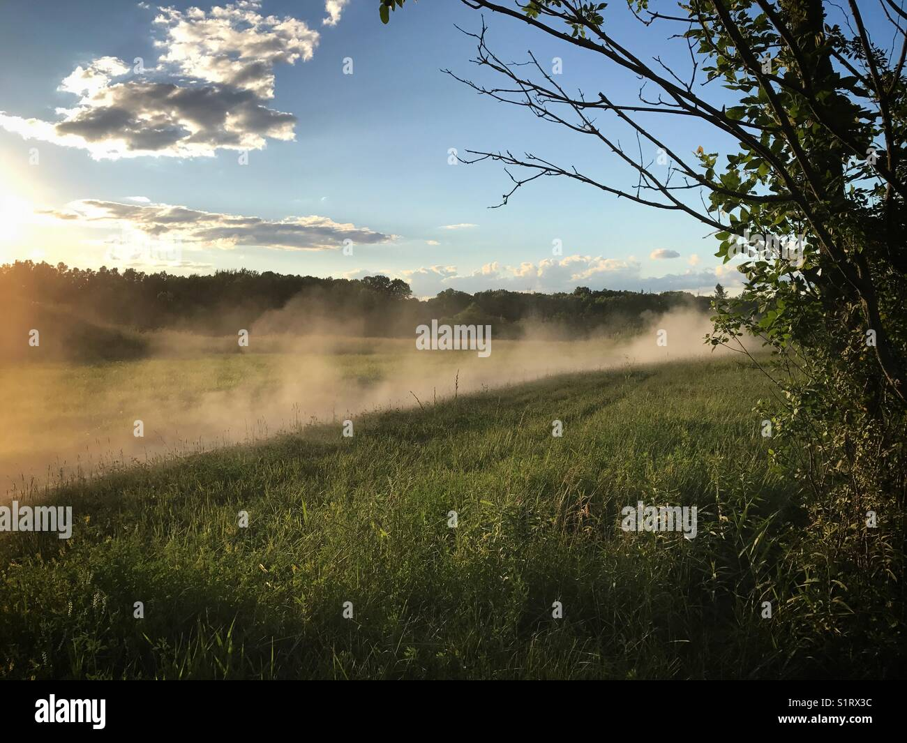 Dust cloud kicked up on a dirt bike trail. - Stock Image
