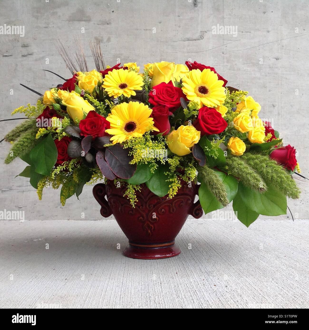 Red flower arrangement stock photos red flower arrangement stock red and yellow flower arrangement stock image mightylinksfo