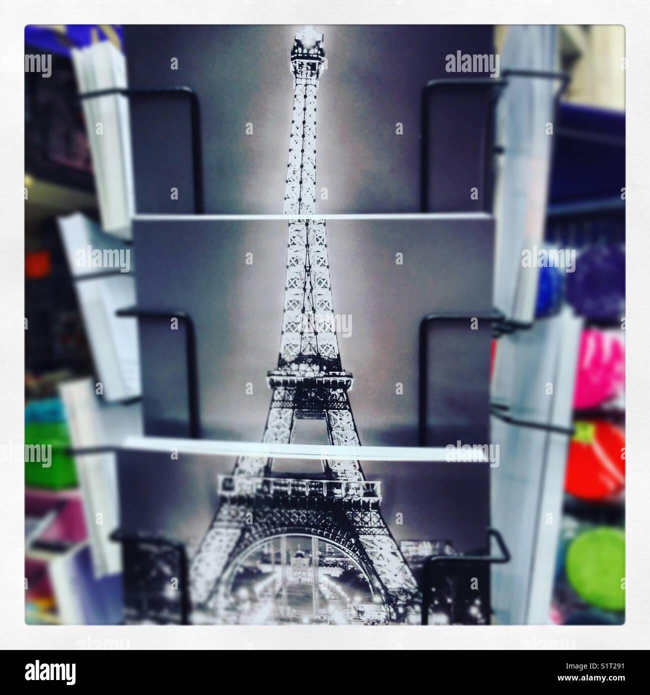 Eiffel Tower postcards - Stock Image