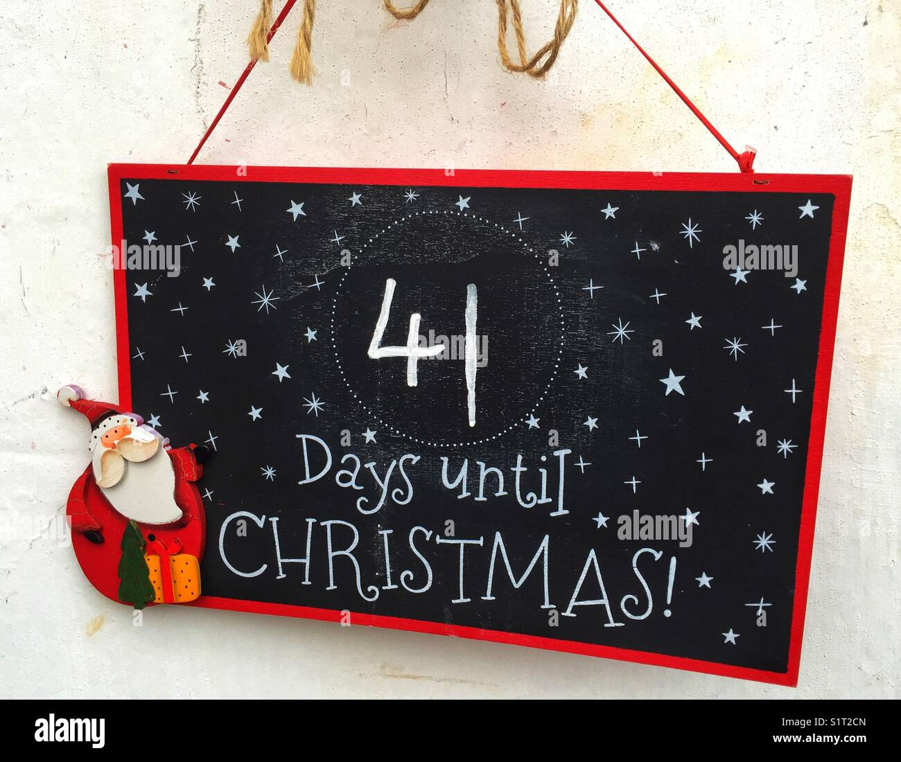 Until Christmas.A Sign Which Says 41 Days Until Christmas Hanging Up Stock