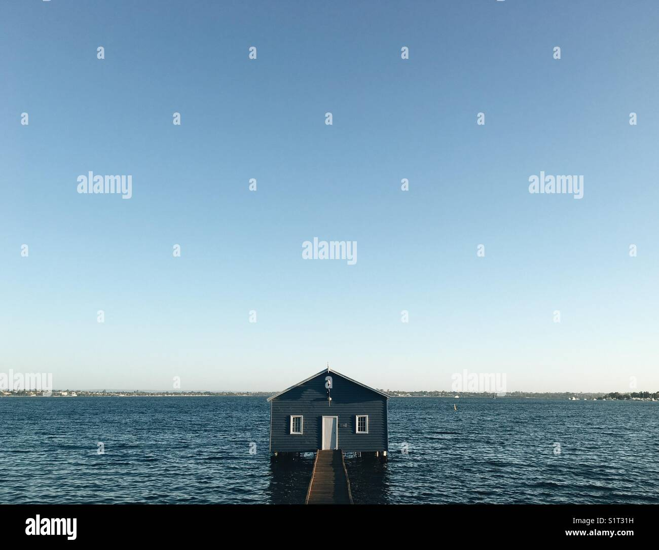 Sunset at Crawley Boatshed - Stock Image