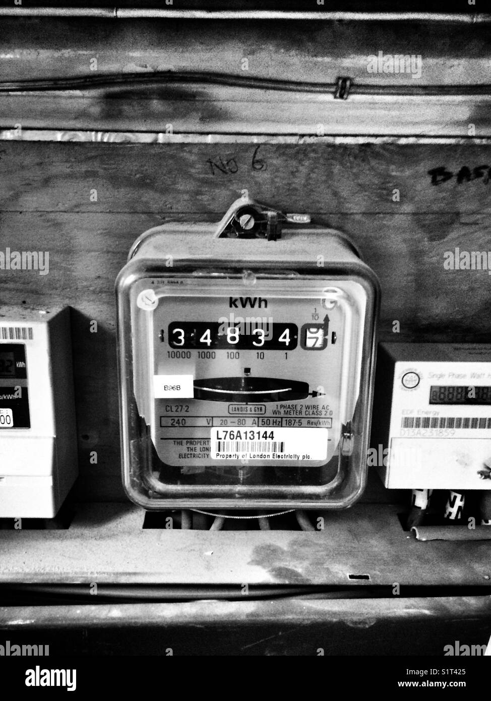 Electricity Meter Black and White Stock Photos & Images - Alamy