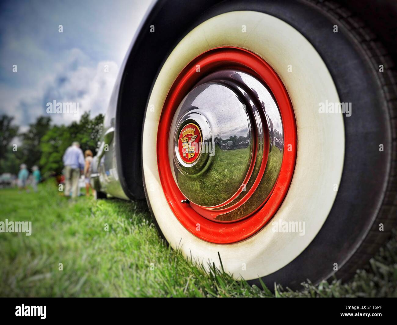 Classic Cadillac Wheel Reflection - Stock Image
