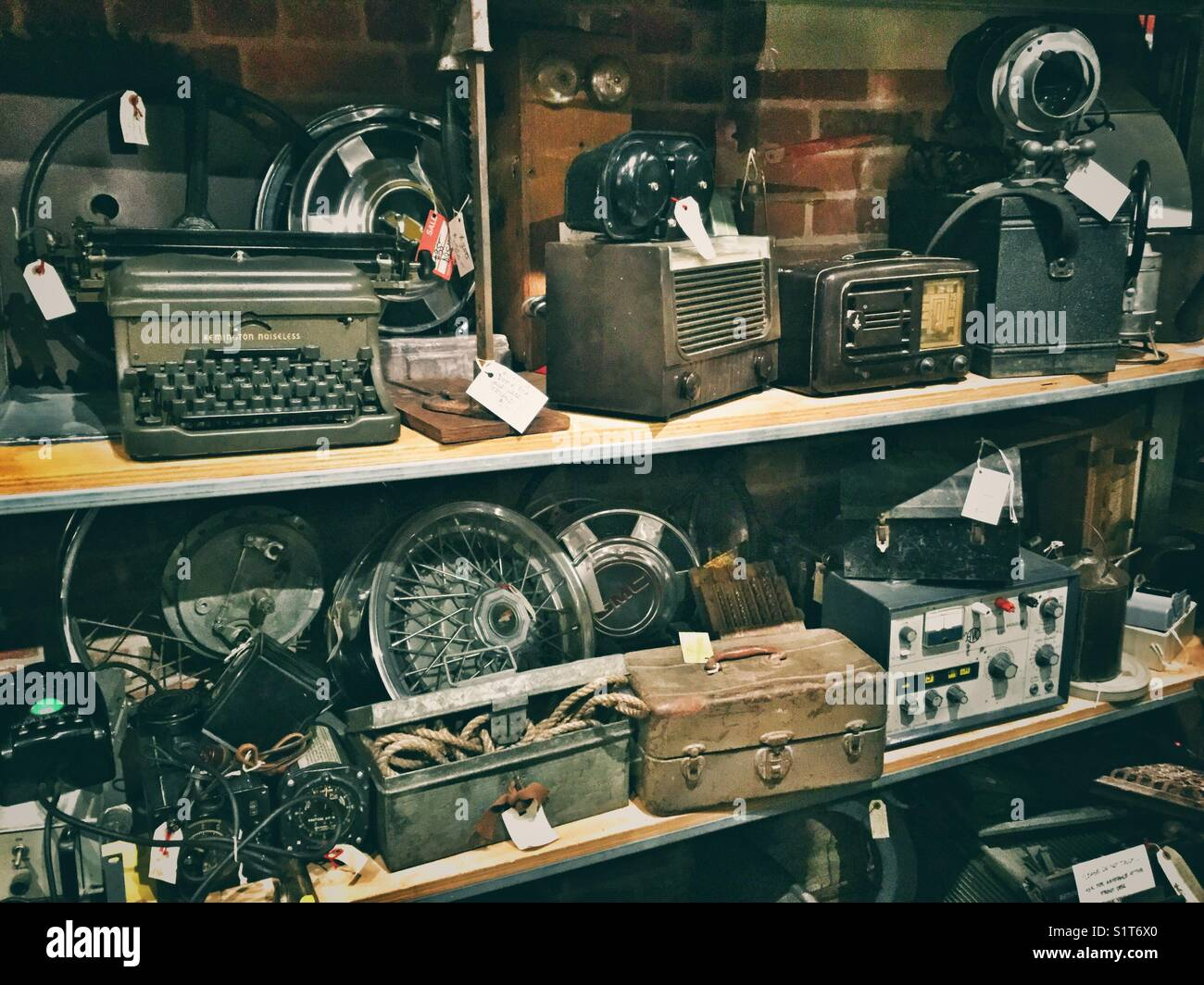 Antique and outdated items for sale. - Stock Image
