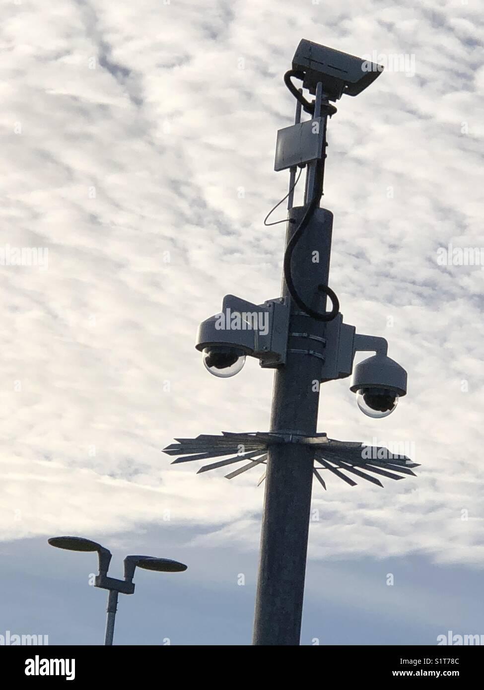 CCTV camera at Willen lakeside car park, Milton Keynes , England - Stock Image