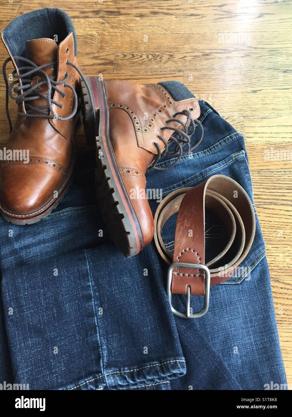 Men's jeans boots and belt Stock Photo: 310934940 Alamy