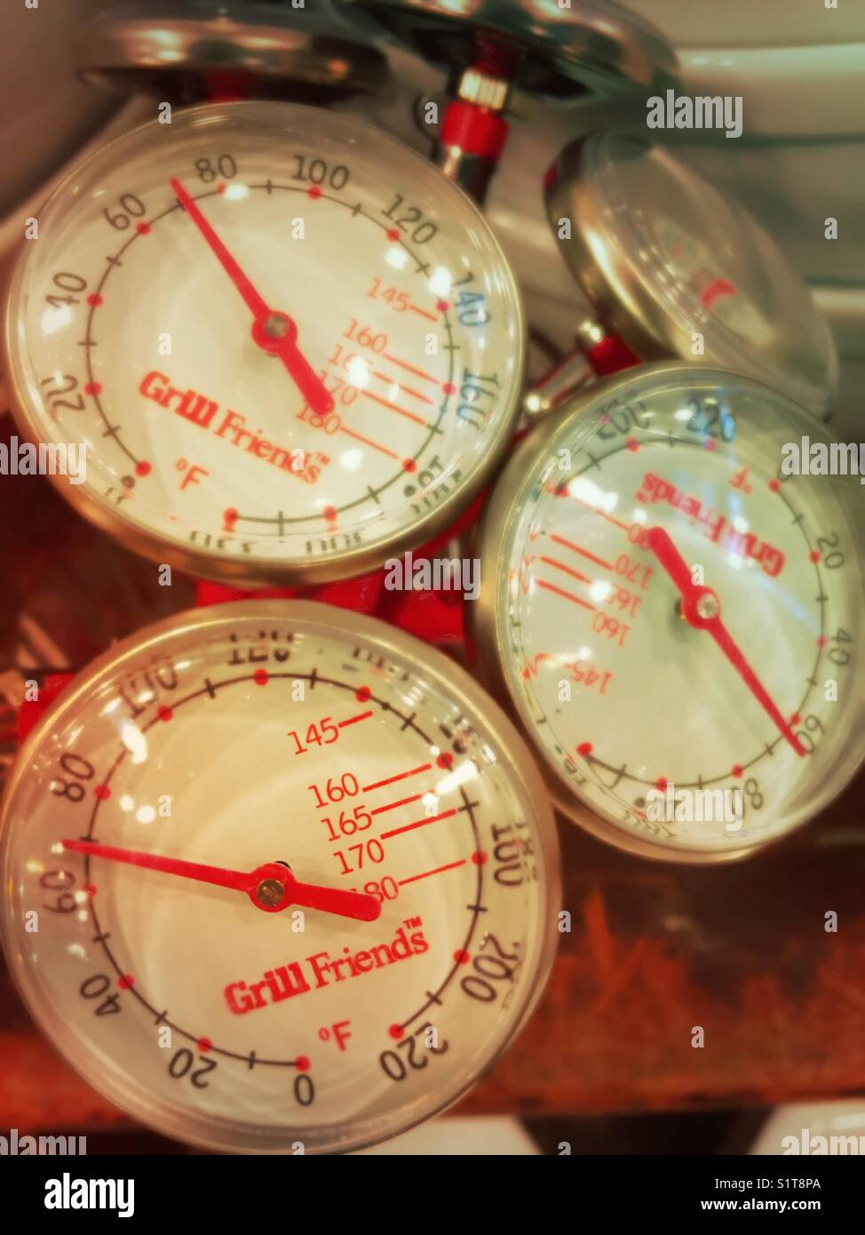 Display of meat thermometers in culinary store, USA - Stock Image
