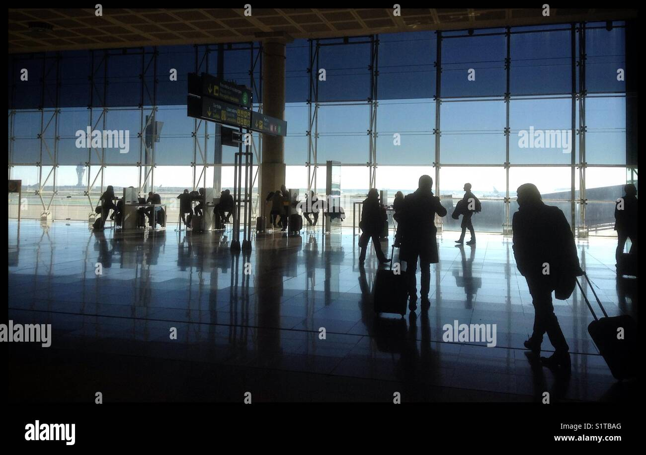 The departure area in Barcelona [BCN] El Prat airport, Barcelona, Spain. - Stock Image