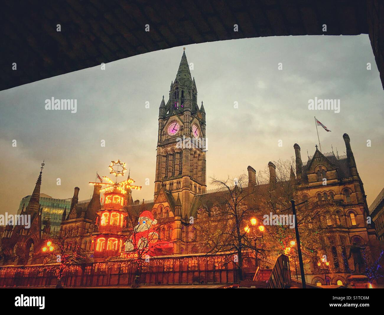 The Christmas Markets outside Albert Hall, Manchester, UK - Stock Image