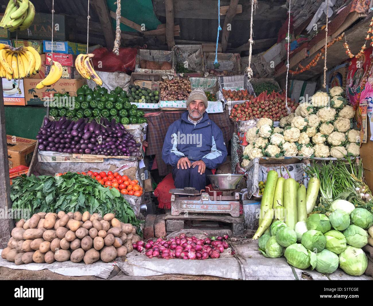 A vegetable and fruit store in patlikul market near Kullu, Himachal Pradesh. - Stock Image