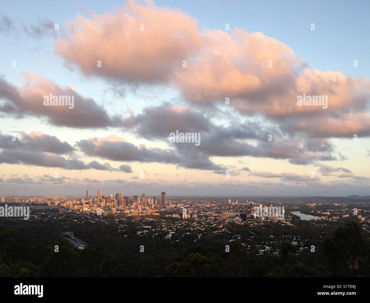 View of Brisbane CBD in late afternoon light. Taken from Mt. Coot-tha Lookout. - Stock Image
