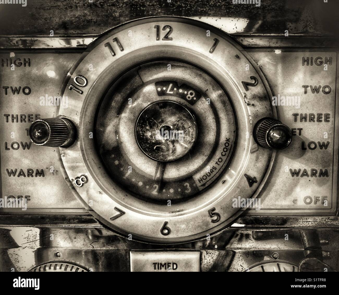 Vintage stove dial - Stock Image