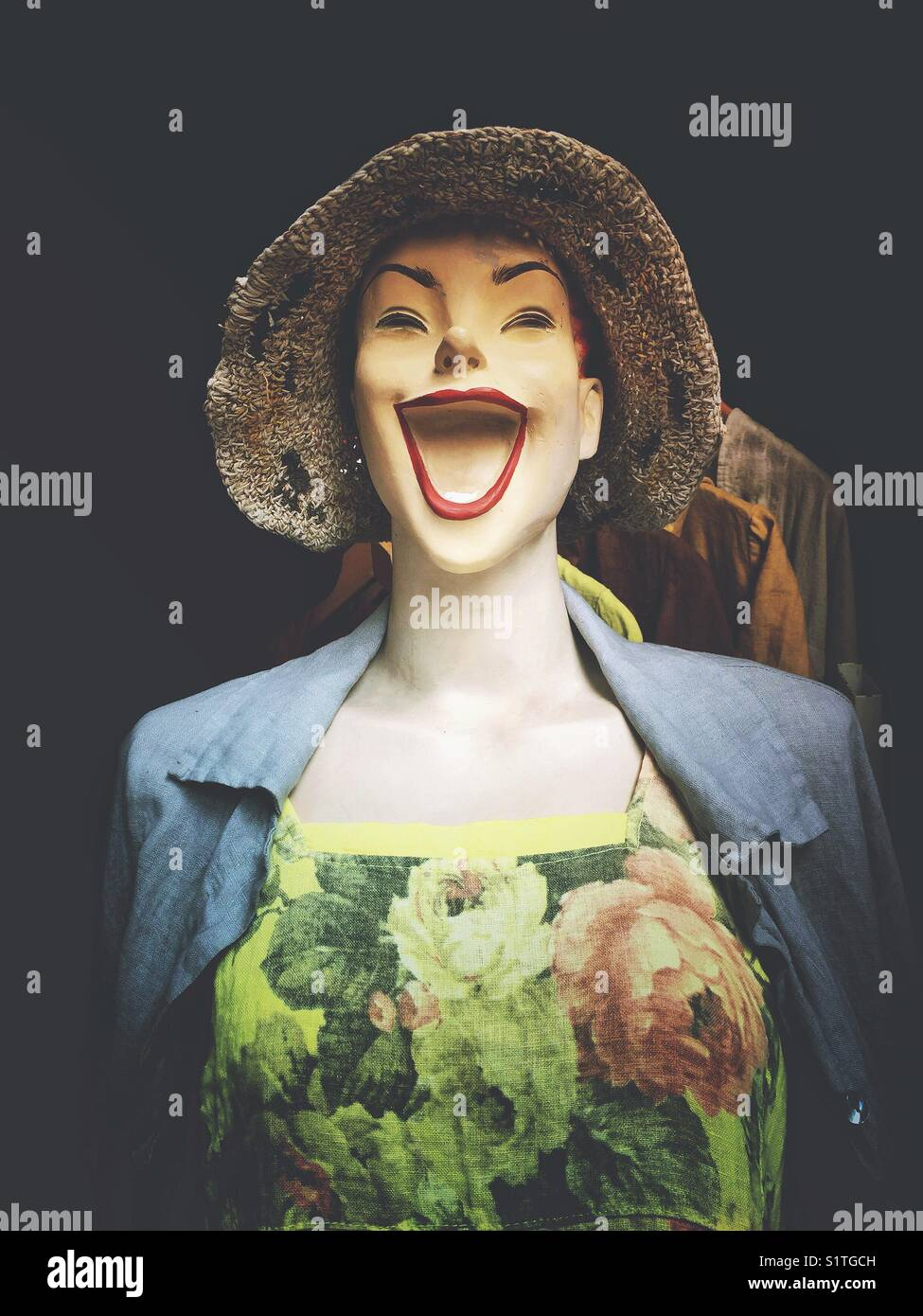 Fun laughing female mannequin - Stock Image