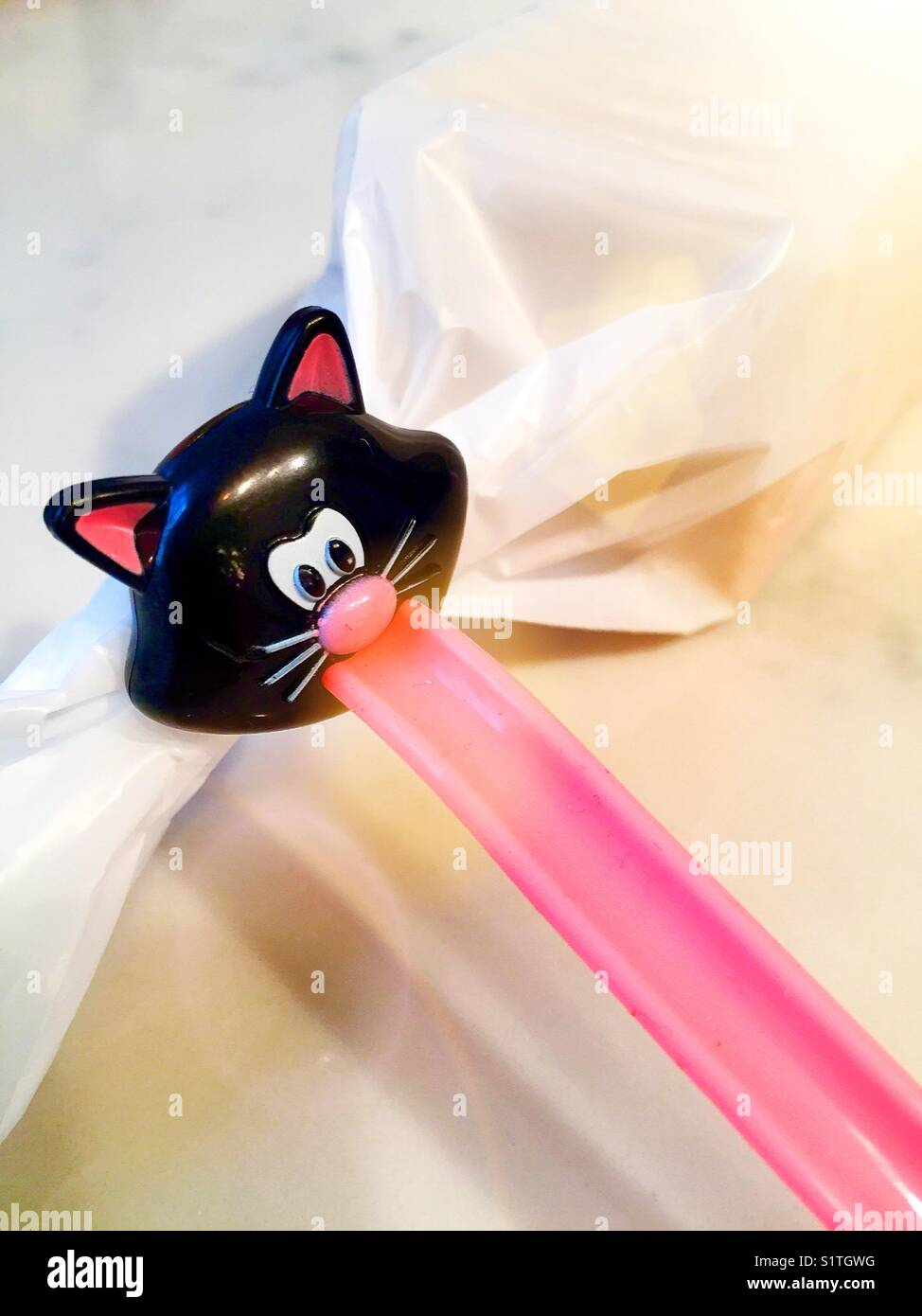 Humorous novelty bag clip of cat face and tongue, USA - Stock Image