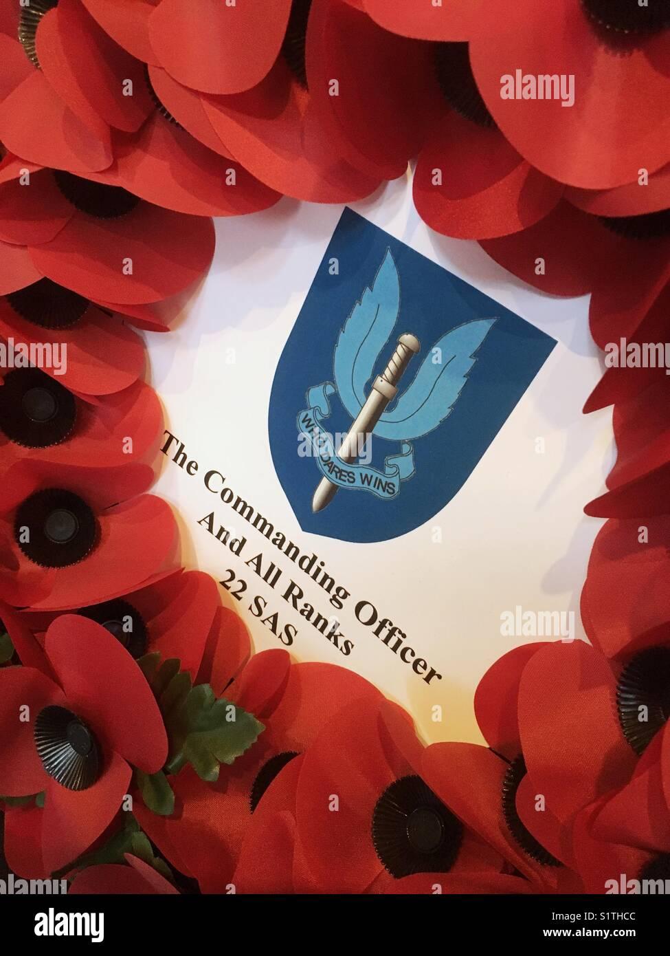 22 SAS poppy wreath on Remembrance Sunday UK Stock Photo