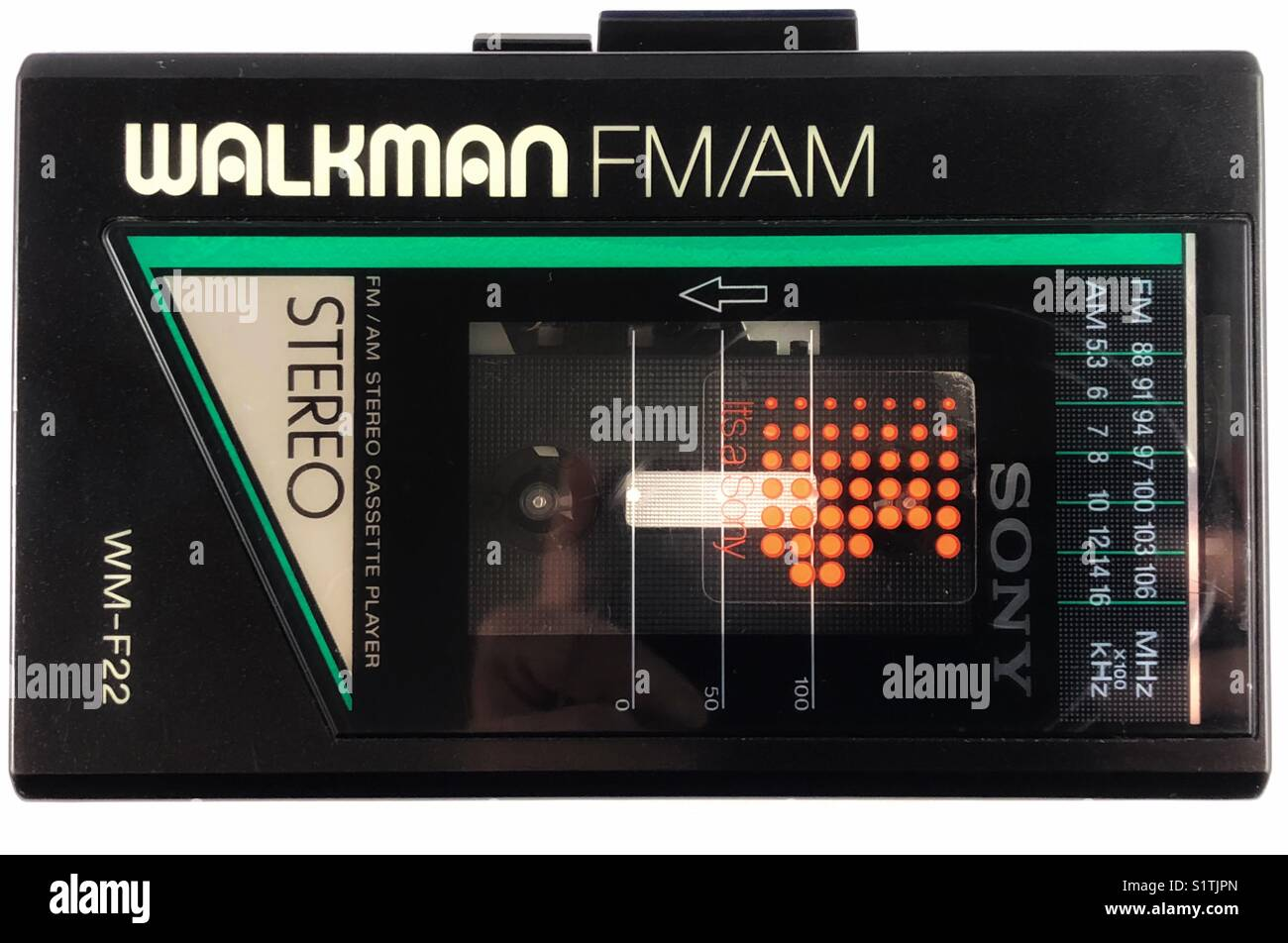 Classic Sony 1980s cassette radio Walkman personal stereo system. - Stock Image