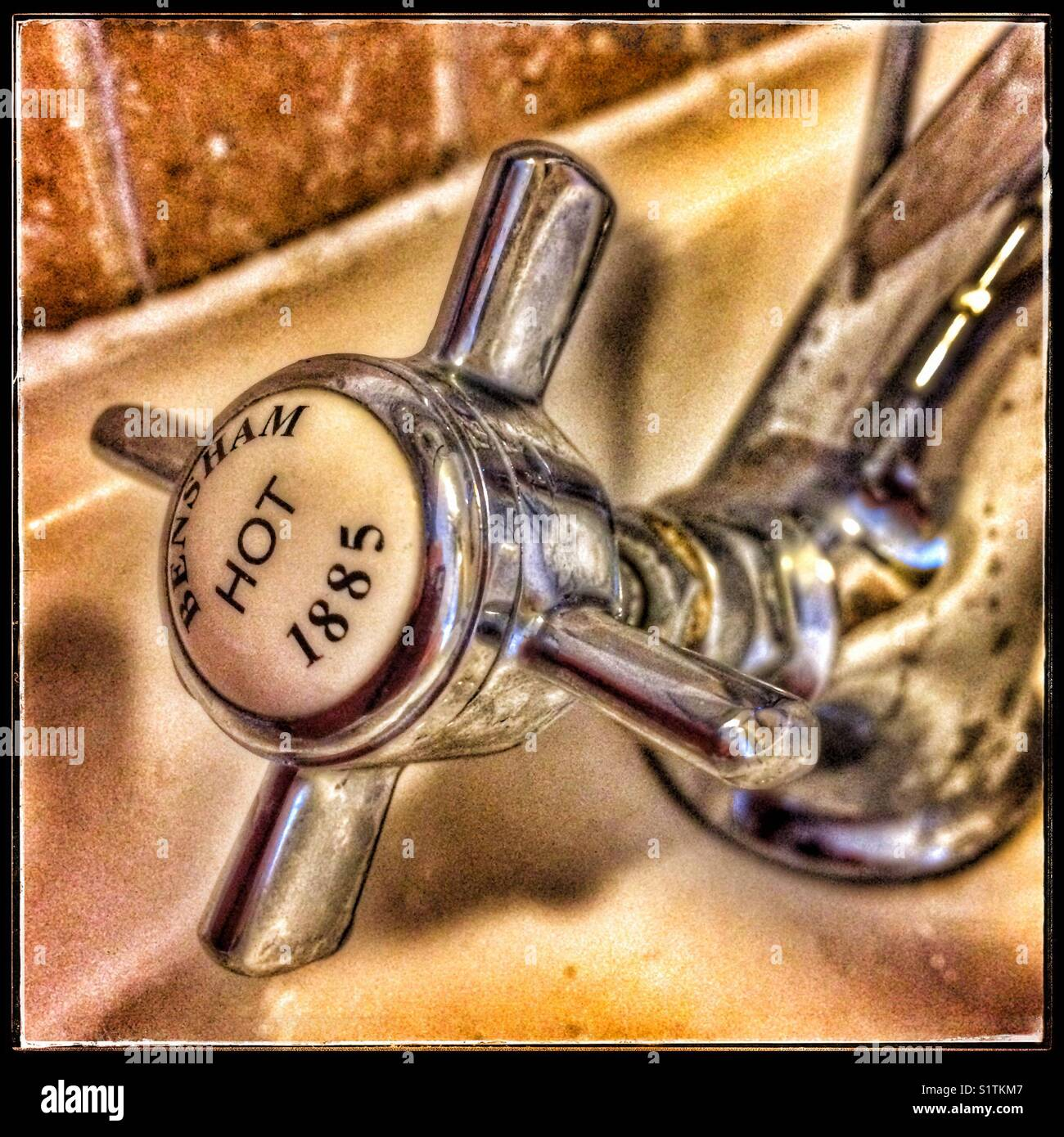 Hot water tap - Stock Image