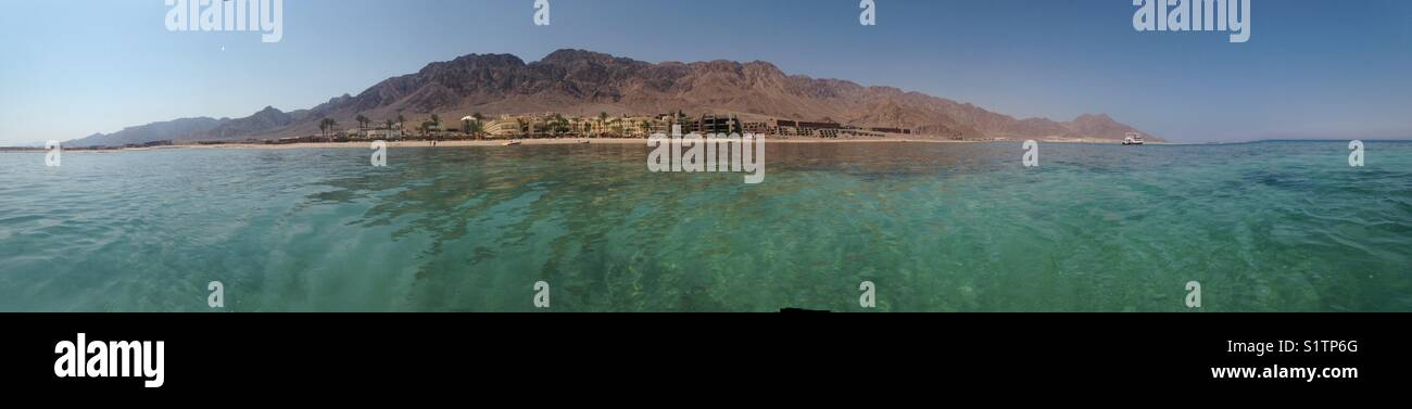 panoramic view of south sinai in Taba in la playa resort taken by iPhone 5 without any app or edit - Stock Image