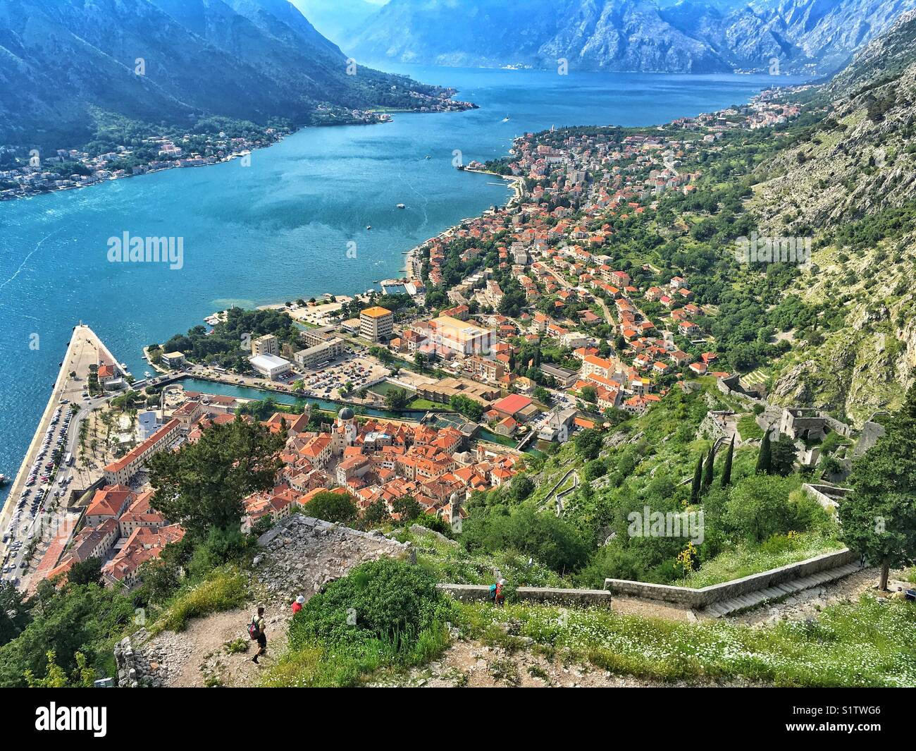 Aerial view of Kotor town in Montenegro Stock Photo