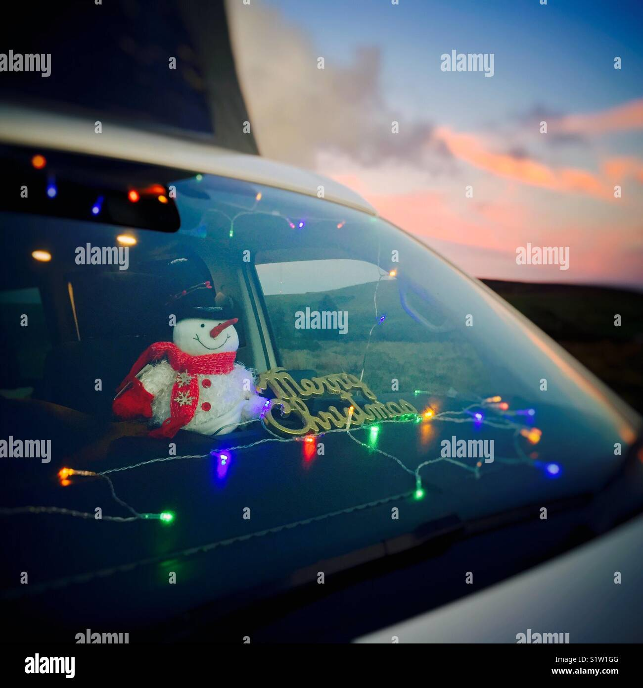 christmas decorations in vw camper van stock image