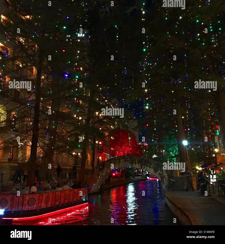 Riverwalk San Antonio Christmas.San Antonio Riverwalk Christmas Stock Photos San Antonio